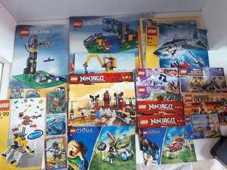 Lego assorted instruction manuals and trading cards bundle