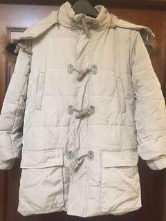 🚚 正韓皮質牛角釦鋪棉中長大衣外套