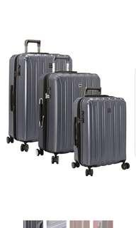 """Delsey Helium Titanium Three 3 Piece Hardside Spinner Set 19"""" 25"""" 29"""" Inch Cabin Size medium and large suitcase luggage Graphite Grey Gray Dark Silver Cherry Red"""