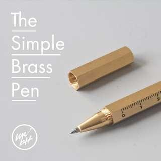 🚚 The Simple Hexagonal Brass Pen with Rule