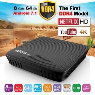 Android Smart TV Box M8S PRO 4K Ultra HD 2GB 16GB Media Player Bluetooth + Wifi