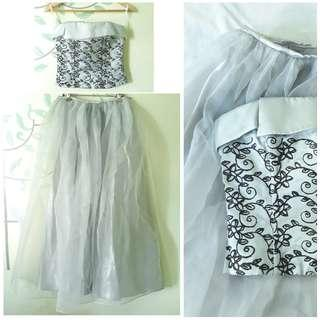Dove Gray 2-piece Ball Gown