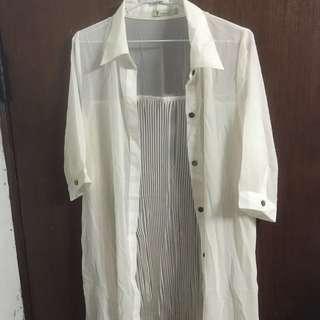 全新❗️catworld百摺雪紡襯衫
