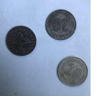 Old 20 cent coins/syiling year 1973, 1976, 1987