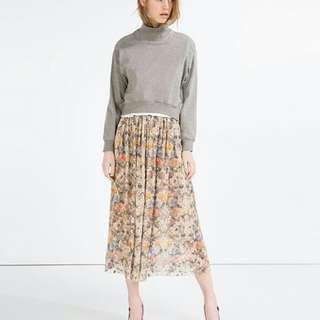 Zara romance floral lace midi skirt long dress blouse top shop maje cocktail 外國優雅蕾絲浪漫碎花重工中長裙 及膝裙 半截裙 襯衫