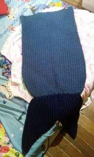 Knitted Mermaid blanket blue