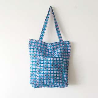 🚚 BN Thai Artisan Geometric Printed Zipper Tote Bag