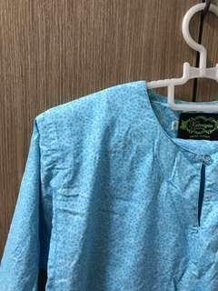 Baju Kurung Cotton Biru Cair