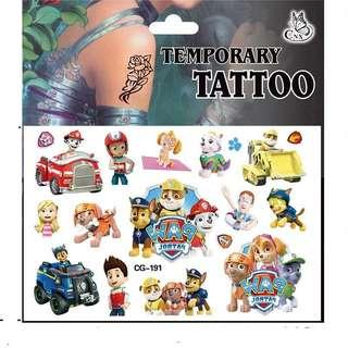 Paw patrol party supplies - kids tattoo / party tattoos / party gifts / goodie bag gifts