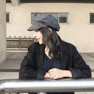二手(未戴過)格紋灰 報童帽