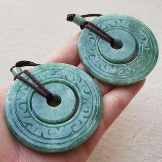 Certified Type A Jadeite Pendant Display Floral Green Jade Pair Carved Duo Donut 平安扣 子母平安 时来运转