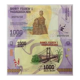 MADAGASCAR 1000  ARIARY 2017 P NEW UNC