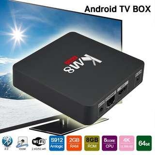KM8 Pro Smart Android TV Box Amlogic Octa Core S912 2GB 8GB UK Plug KD17.0 4K HD