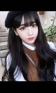 Natural black Korean ulzzang air fringe full wig