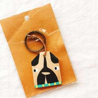 🚚 BNIB Wooden Illustrated Pug Dog Key Ring Key Chain