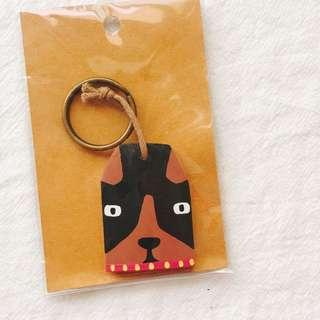 🚚 BNIB Wooden Illustrated Dashchund Key Ring Key Chain