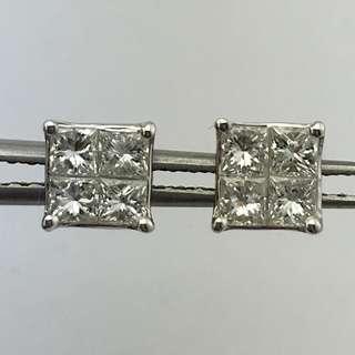 18K白金耳環 79份鑽石(SI1) 18K Withe gold Earrings 0.79ct Diamond(SI1)