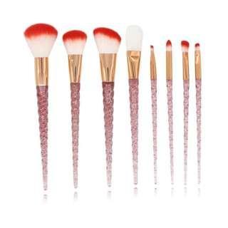 8 Pcs Pink Glitter Unicorn Handle Makeup Brushes