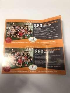 The Fun Empire $60 voucher