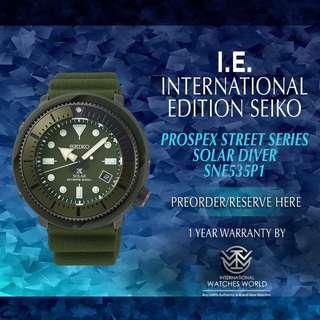 SEIKO INTERNATIONAL EDITION PROSPEX STREET SERIES SOLAR DIVER GREEN DIAL SNE535P1