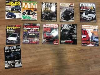 Japan Imported Car Magazines for Mini / Mitsubishi Evo / Honda Vtec / Toyota Vellfire Alphard Estima and Volvo