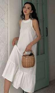 Summer Retro White Maxi Halter Neck Dress