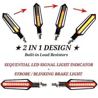2 IN 1 Motorcycle Sequential 流光 Led Signal Light Indicator + Blinking 爆闪 Brake Light Built-in Load Resistors No Led Flashes Relay Needed Direct Plug & Play Newest Switchback Technology                                         Click READ MORE For Demo Video