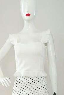 White flutter crop top