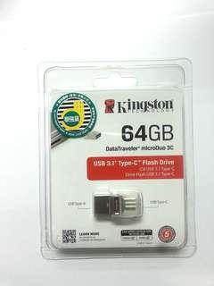 全新 包郵 Kingston Data Traveler® microDuo 3C 64GB Type-C USB 3.0 隨身碟(保證原廠 香港聯強保養)