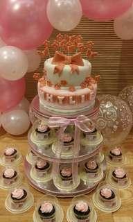 Baptismal Cake & Cupcake Tower