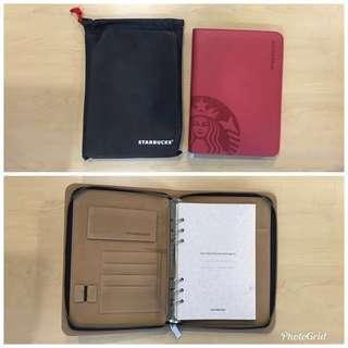 STARBUCKS Limited Edition Leather Zipped Planner (2013  / Red)