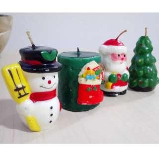 Snowman, x'mas stocking, candy cane, santa claus, christmas tree wax candles