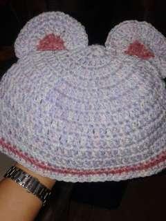 crocheted bonnet