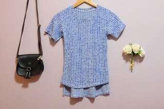 Preloved - Blue Patterned Top