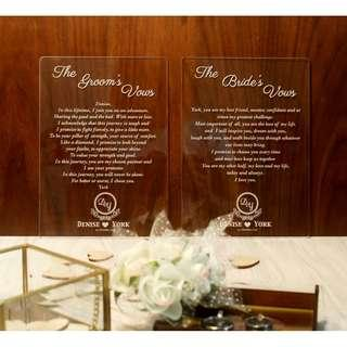 Custom Engraved Acrylic Vows ( A Pair )