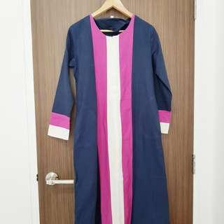 long jubah with zip front