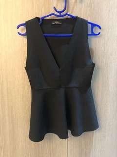 Zara black sleeveless peplum blouse