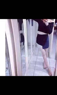 🚚 正韓顯瘦麂皮拼接短裙