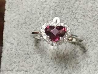 日本製14k金 天然紅碧璽心型切割造型真鑽戒指