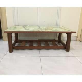 Vintage coffee table with teakwood legs