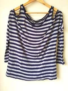 Cotton On Blue/Gray Stripes Coldshouder Blouse