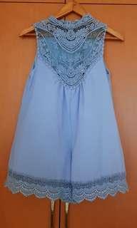 Street Heart Light Blue Crochet Romper