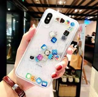 iphone water apps glitter phone case