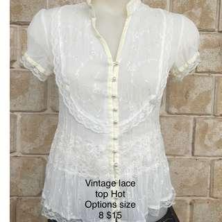 Womens vintage button blouse cream white lace retro style work casual