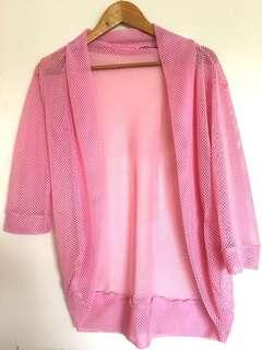 Pink net cardigan