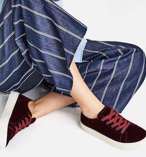 Zara Maroon Suede Sneakers