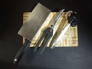 一套四件 德國孖人牌刀較剪開罐頭器 天上野砧板