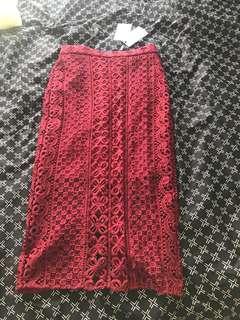Bardot Midi Lace Skirt Size 6