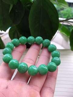 缅甸翡翠阳绿手链卡13mm