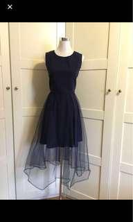 Navy blue dress/ midi dress/ prom dress/ tutu dress/ evening dress/ party dress/ blue dress/ mesh dress/ tulle dress/ fit and flare dress/ dnd dress/ bridesmaid dress/ photoshoot
